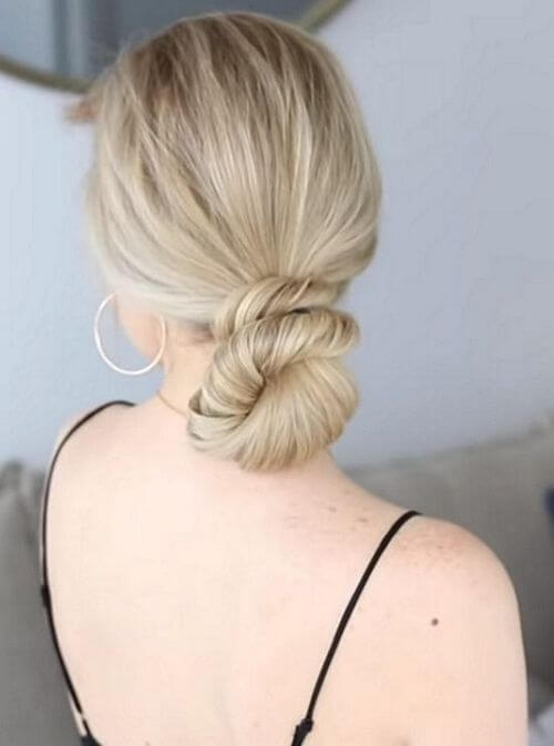 cute low bun hairstyle
