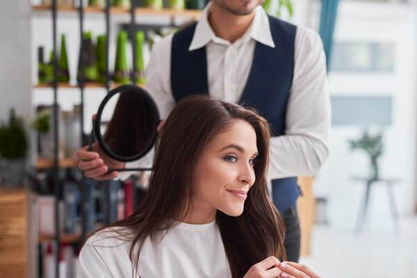 woman has her own hairstylist